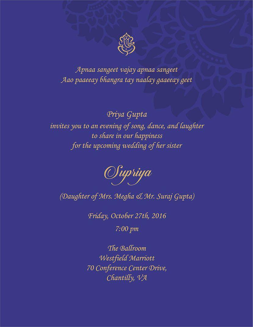 Wedding Invitation Wording For Sangeet Ceremony Wedding Invitation Card Wording Indian Wedding Invitation Cards Invitation Wording