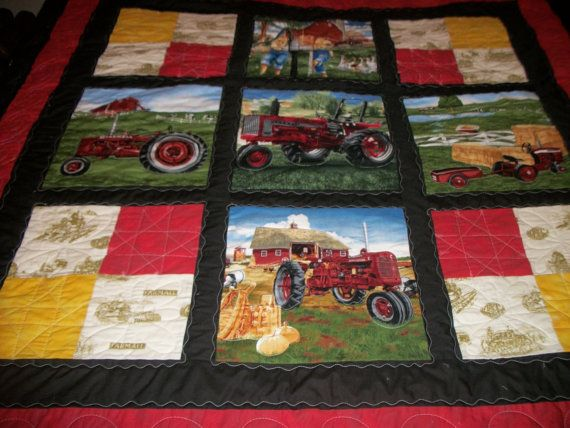 International Harvester Fabric Quilts Tractor Quilt Farm Quilt