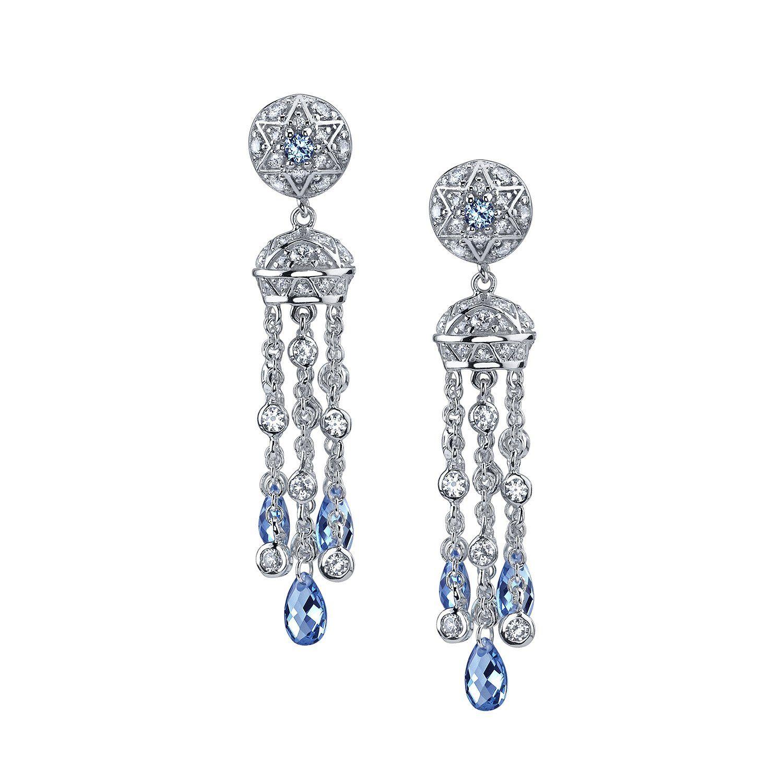 Kiera Couture Tails Blue Tel Dangle Drop Earrings