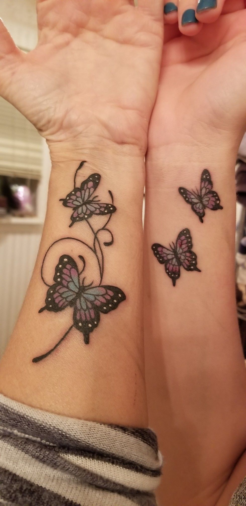 Mother Daughter Butterfly Tattoo : mother, daughter, butterfly, tattoo, Mother, Daughter, Butterfly, Tattoos, Daughters,, Matching, Friend, Tattoos,, Purple
