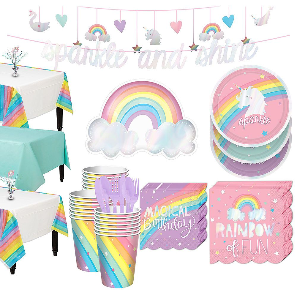 Magical Rainbow Tableware Kit for 24 Guests Rainbow