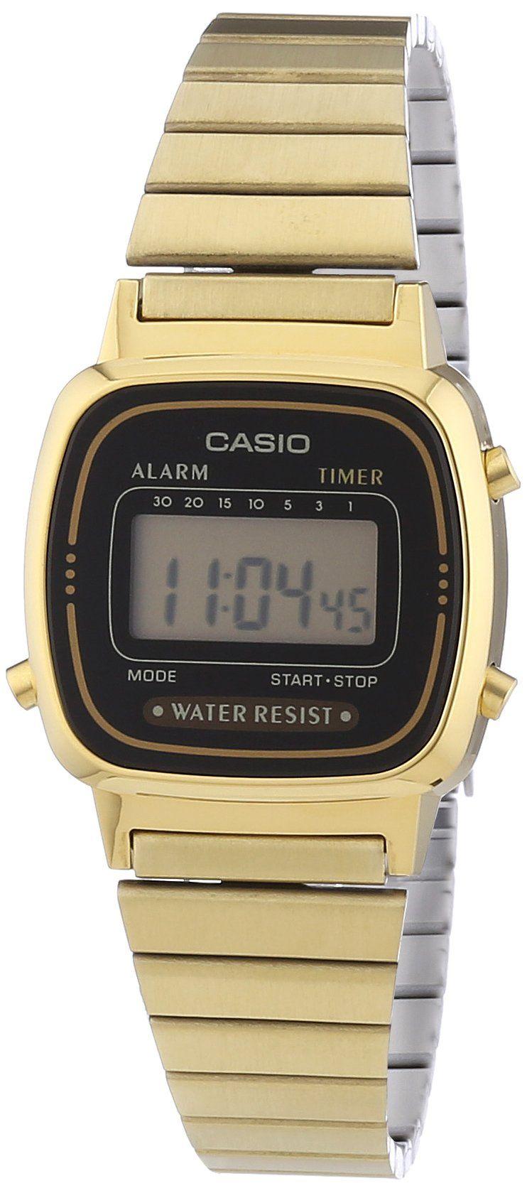 Montre Casio Couleur Or dedans casio - vintage - la670wega-1ef - montre femme - quartz digital