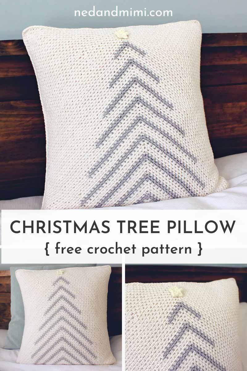 Modern Crochet Christmas Tree Pillow Free Pattern Ned Mimi Crochet Pillow Patterns Free Christmas Crochet Patterns Crochet Christmas Trees Pattern