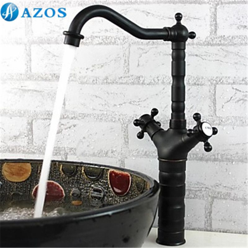 Kitchen Sink Faucets Antique Black Brass Swivel Waterfall Shower ...