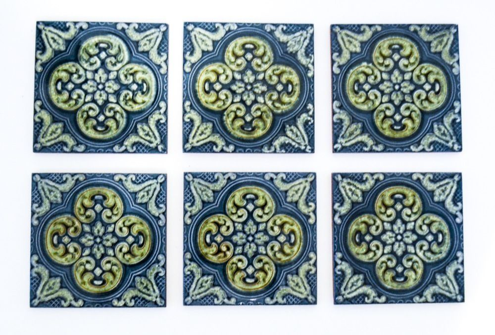 Six Vintage Blue/Green Ceramic Tiles-La Campanella Sassuolo-Made in Italy #LaCampanellaSassulolo