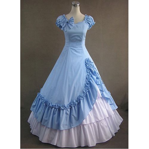 Light blue bowknot muti layers sweet victoria gothic dress for Blue gothic wedding dresses