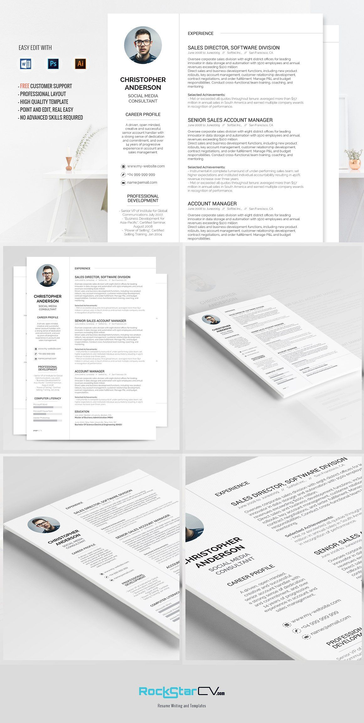 10 Classic Resume Templates Bundle Change Colors Fonts Touch Resume Template Resume Templates Microsoft Word Resume Template