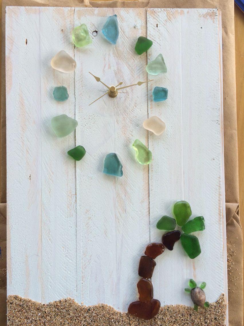 Sea glass clock handmade by me! All sea glass and shells found in Kauai