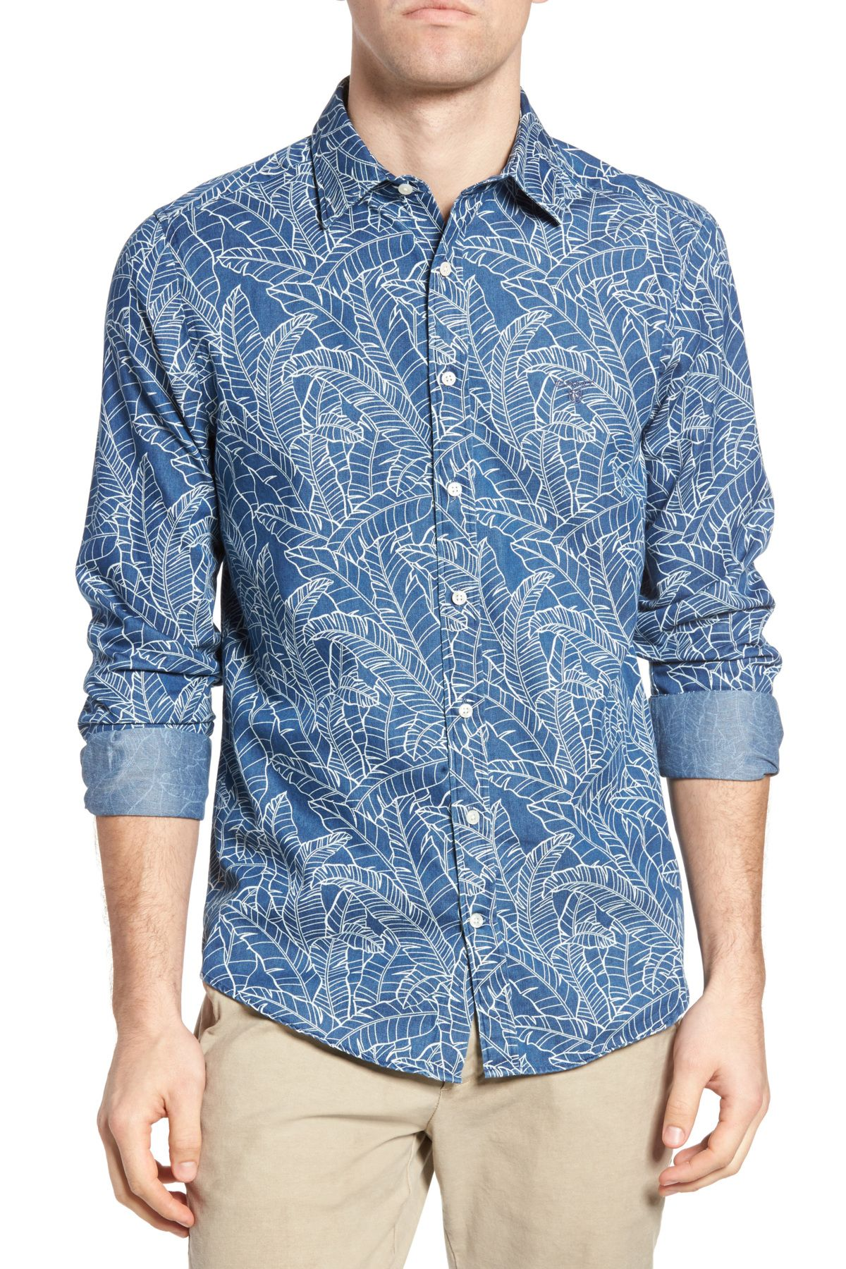Indigo Leaf Print Fitted Sport Shirt