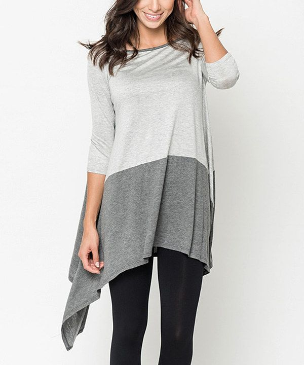 Look at this Caralase Heather Gray & Charcoal Two-Tone Tunic on #zulily today!