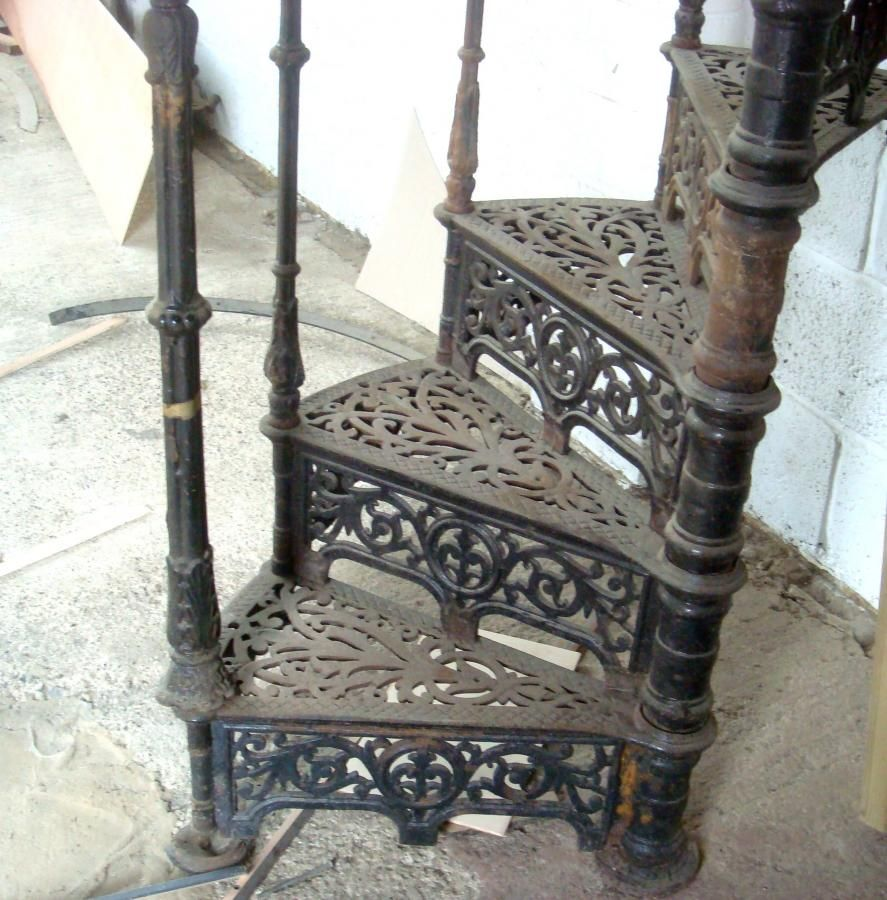 Ornate Antique Victorian Cast Iron Spiral Staircase Spiral | Iron Spiral Staircase For Sale | Grey Exterior | Wrought Iron | Ornate | Helical Staircase | Architectural Salvage