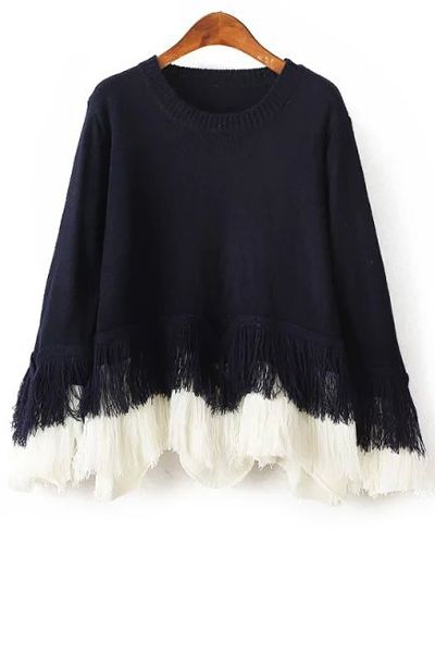 Loose Fitting Fringes Round Collar Long Sleeves Sweater - $24,49 in Zaful