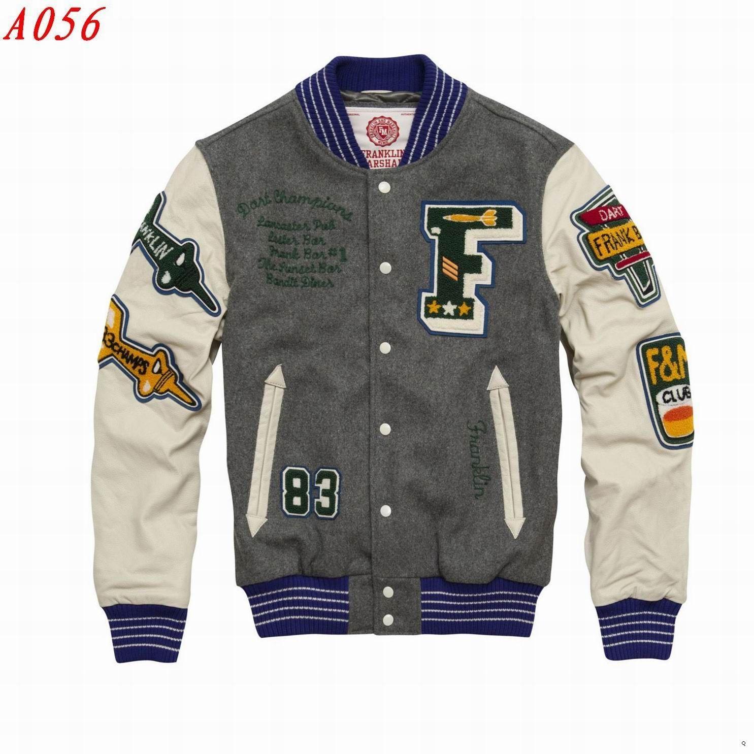 super popular e9cf4 9528c Franklin & Marshall Leather Sleeves letterman Jacket Gray ...
