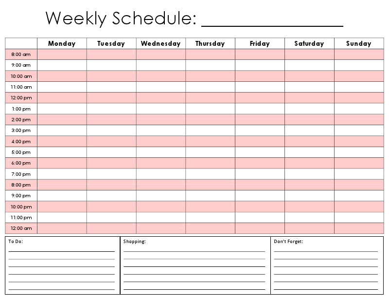 Hourly Weekly Schedule Maggilocustdesignco - Fresh weekly schedule template word design