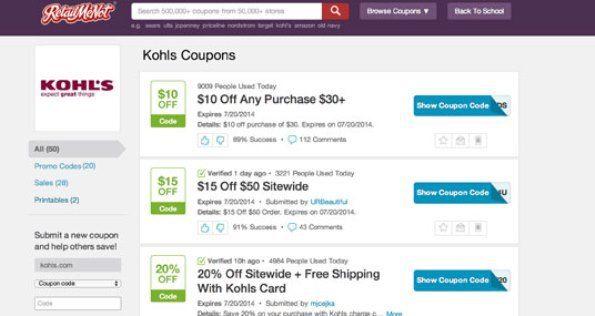 Kohls coupons in store retailmenot