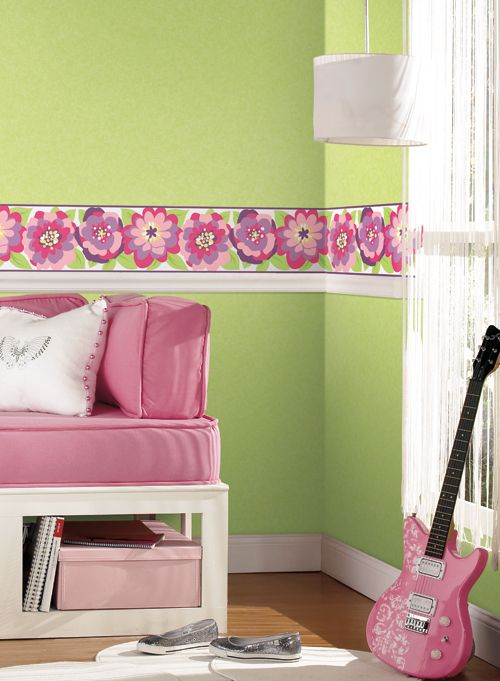 Bright spring green and pink floral wallpaper border for a girls ...