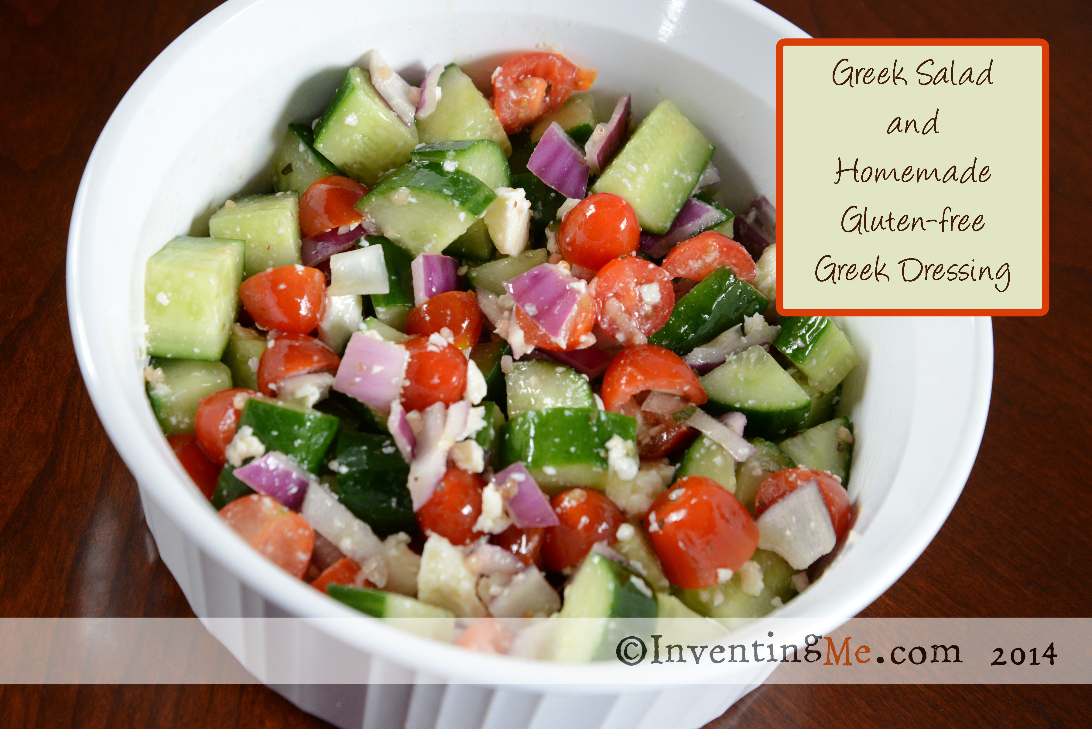 Greek salad with gluten-free homemade Greek salad dressing. Very easy, and very frugal. From inventingme.com