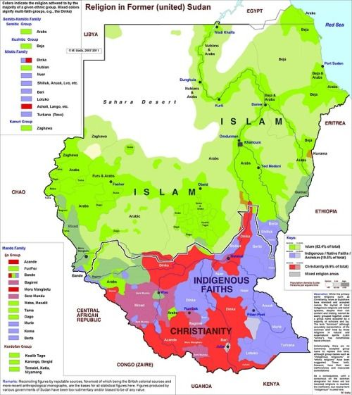 Religious Map Of Sudan And South Sudan Maps Pinterest Africa