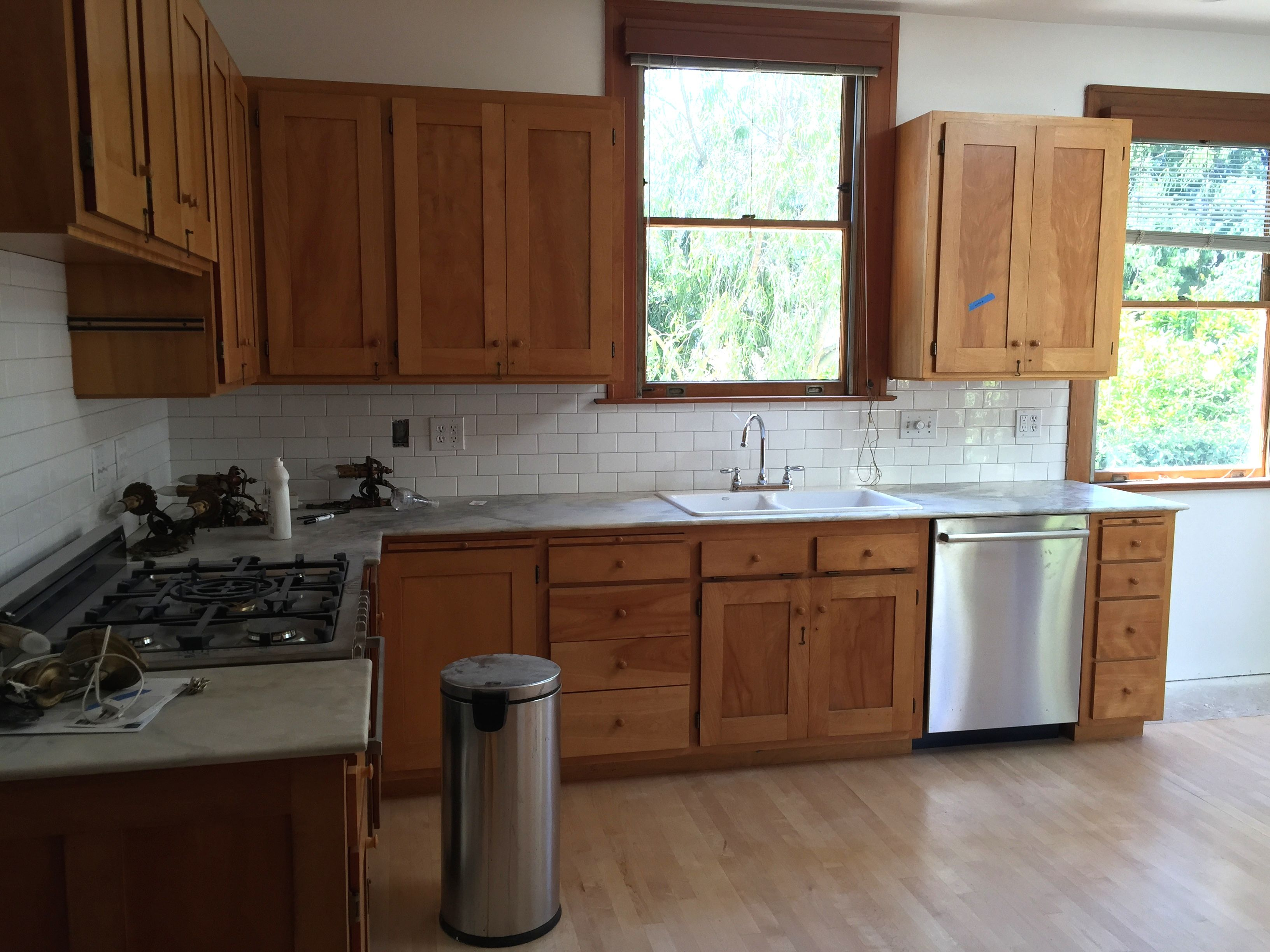unfinished oak antique cabinets vintage. white marble ... on Maple Cabinets With White Granite Countertops  id=60144