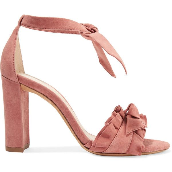 Alexandre Birman Lupita ruffle-trimmed suede sandals ($205) ❤ liked on Polyvore featuring shoes, sandals, heels, antique rose, suede shoes, ruffle shoes, suede sandals, high heeled footwear and dusty pink shoes