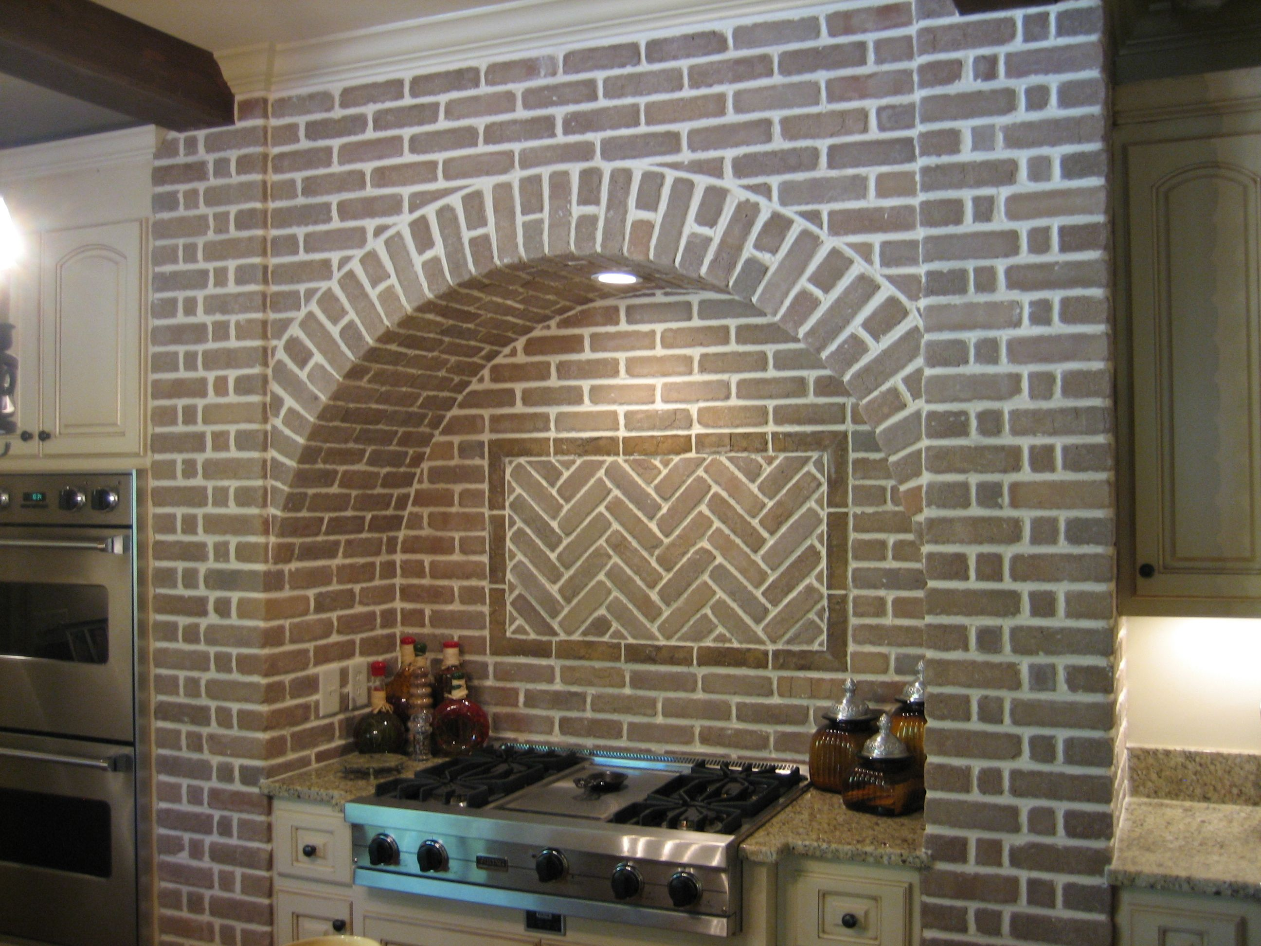 herringbone accent | Cladding, Brick backsplash