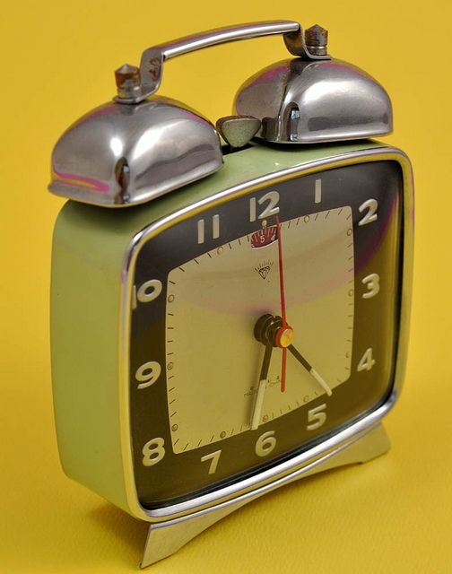 Achrome And Chartreuse Vintage Alarm Clock By Jollypollypickins On