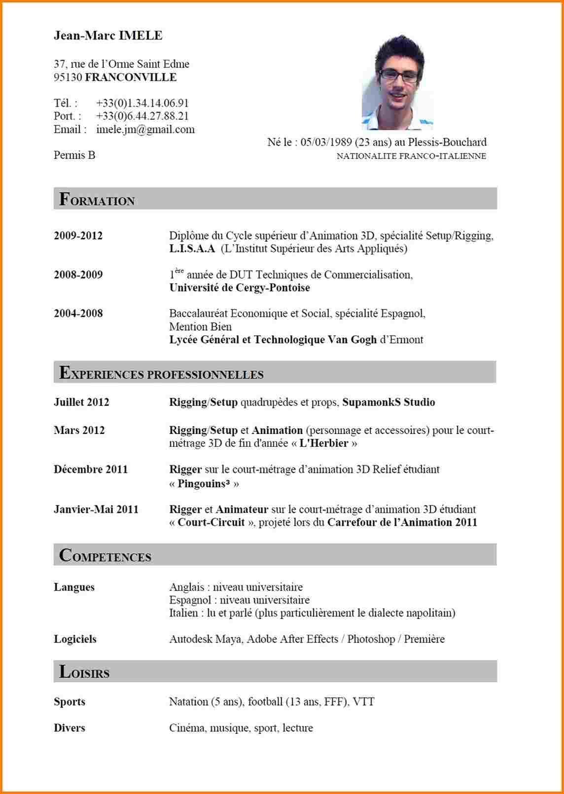 14 Modele Curriculum Vitae Waynes Boro Country Club Faire Un Cv Cv Francais Cv Anglais