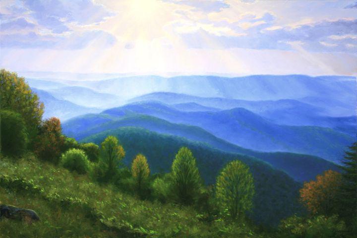 Blue Ridge Mountains Sunburst On The Blue Ridge Mountains In Virginia Oil Paintings By Blue Ridge Mountains Blue Ridge Mountains Virginia Blue Ridge
