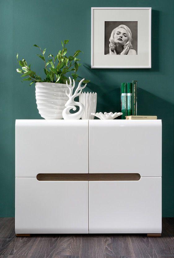 Details About WHITE GLOSS Sideboard Dresser Buffet 4 Door Cabinet Modern  Living Room Furniture