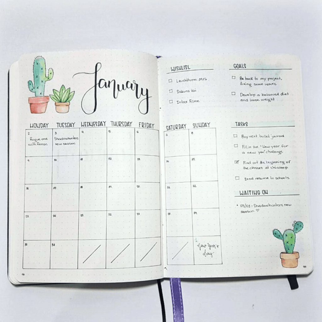 Image result for bullet journal monthly log