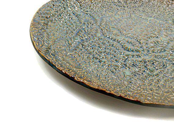 Ceramic Oval Platter Hostess Gift Blue Copper Kitchen Decor Large Oval Serving Dish Ceramic Serv Copper Kitchen Decor Ceramic Serving Trays Oval Platter
