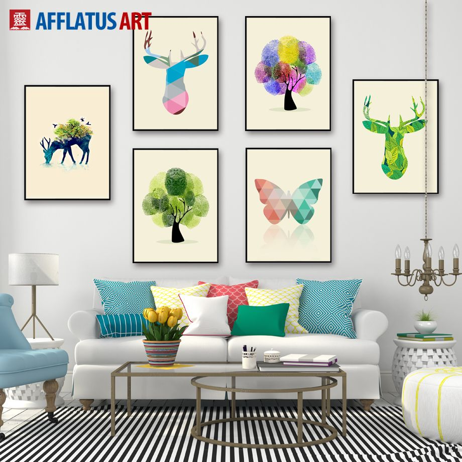 Afflatus nordic watercolor dear horse butterfly wall picture canvas