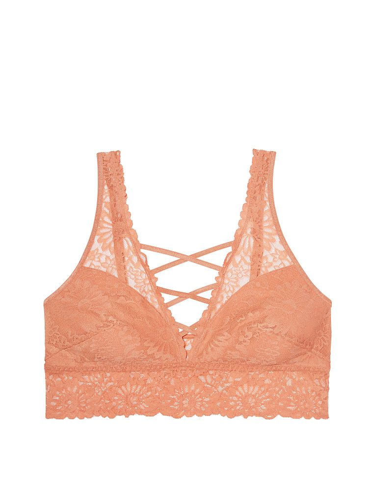 a483d80731030f Unlined Wildflower Lace Plunge Bralette - PINK - Victoria s Secret ...