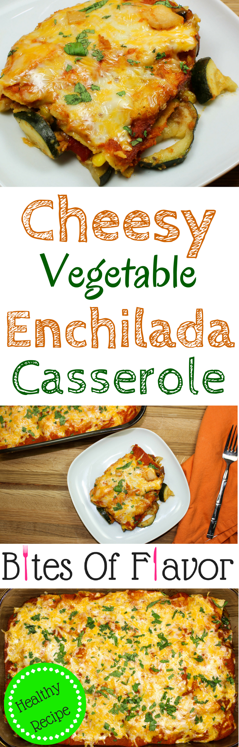 Cheesy Vegetable Enchilada Casserole-Everything you love about enchiladas. Layers of enchilada sauce, delicious seasoned vegetables, & tortillas topped with cheese. Great to feed a crowd & makes for amazing leftovers! Full of flavor & low fat. Weight Watchers friendly (7 SmartPoints).