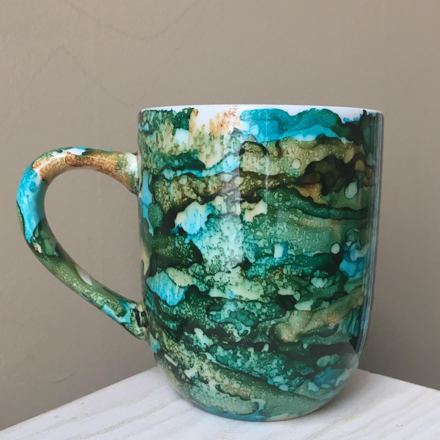 Hand Painted Mug Alcohol Ink Lagoon Teal Green And Tan