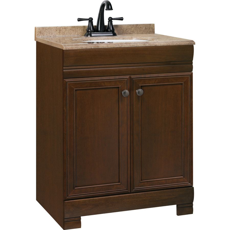 Style selections windell auburn integral single sink for Sink with vanity for small bathroom