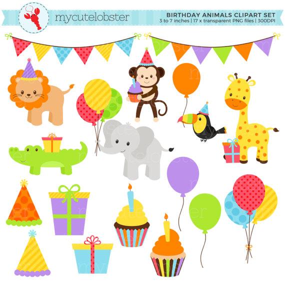 Birthday Animals Clipart Set Party Animals Clip Art Set Etsy Animal Clipart Clip Art Animal Birthday