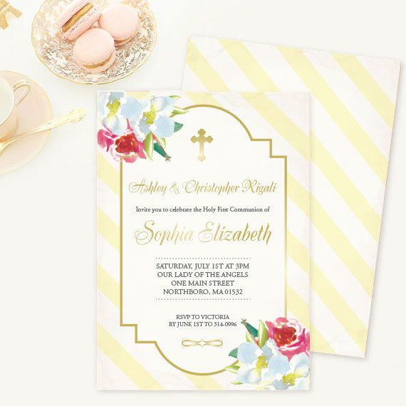 Twins Baptism Invitation, Flowers, Yellow Stripes, Yellow, Gold - sample baptismal invitation for twins