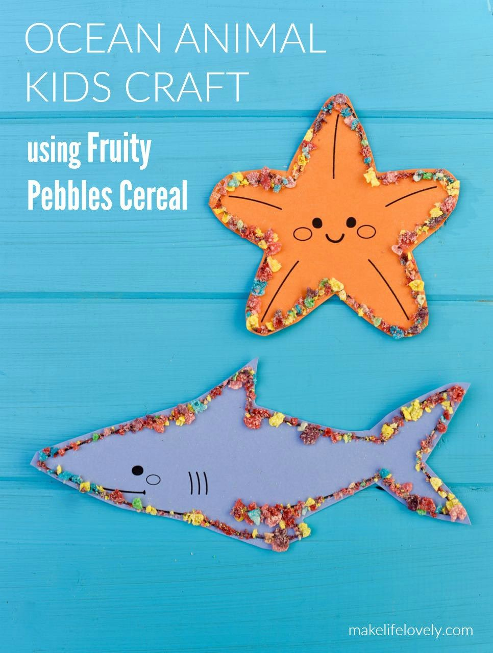 Ocean Animal Craft with Fruity Pebbles | Animal crafts, Craft free ...
