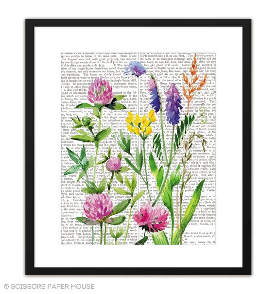 Printable Art Watercolour Wildflowers by ScissorsPaperMouse