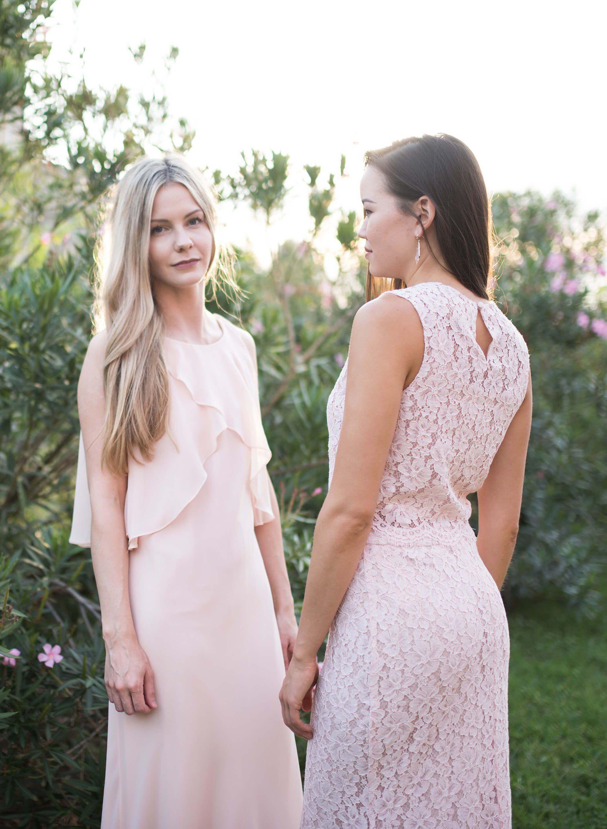 Alethea dress blushing bridesmaids pinterest long bridesmaid