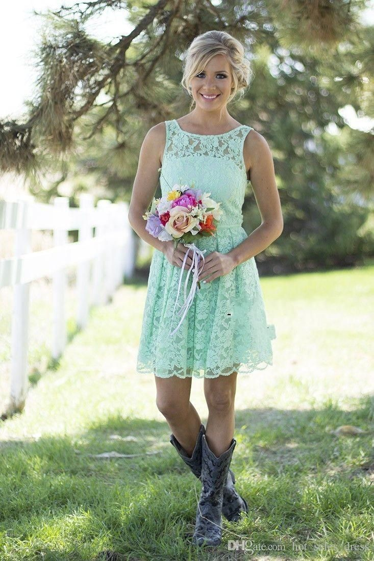 Cheap 2016 Country Style Mint Green Bridesmaid Dresses Short Lace ...