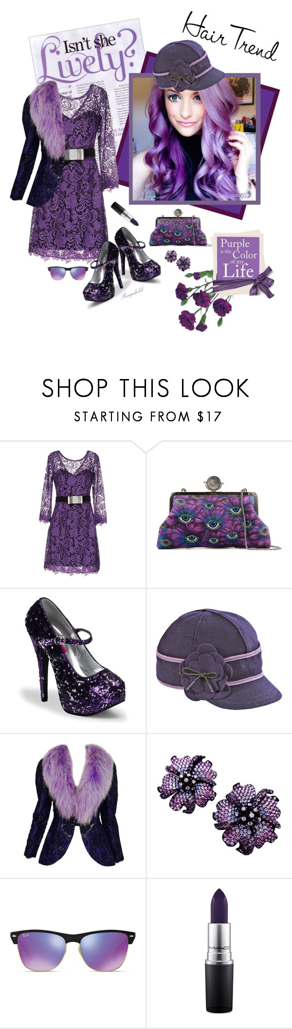"""""""Matchy- Matchy Hair ,Purple for me!"""" by ragnh-mjos ❤ liked on Polyvore featuring beauty, Maria Grazia Severi, Sarah's Bag, Stormy Kromer, Adolfo, Ray-Ban and MAC Cosmetics"""