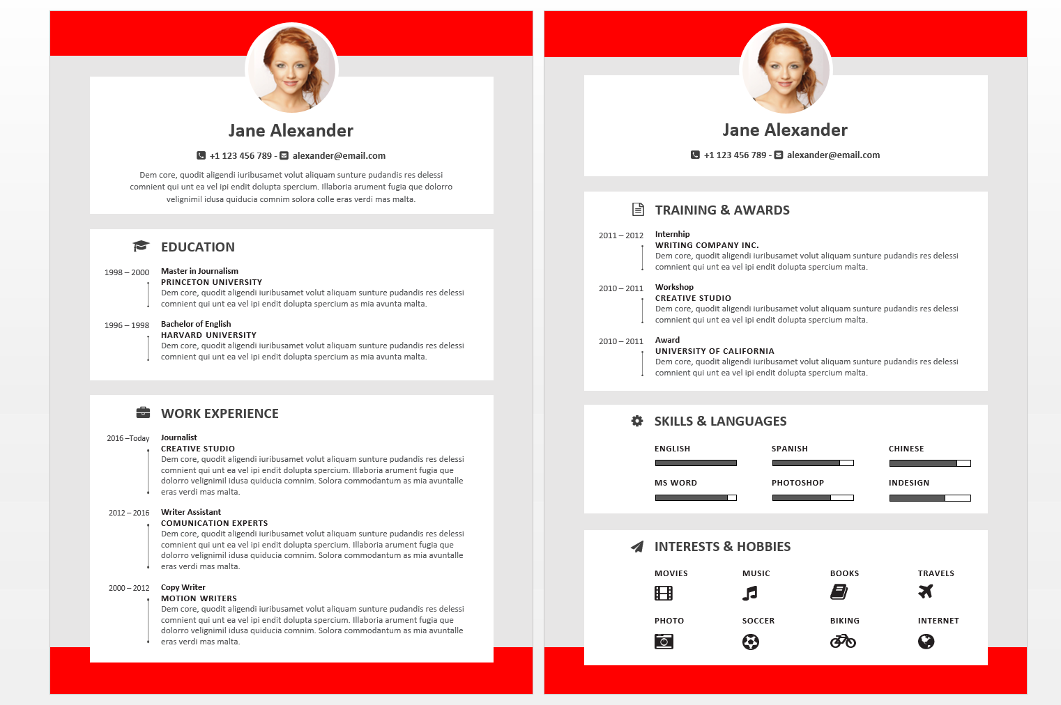 Red Version Of The John Alexander Resume Template Fullwidth