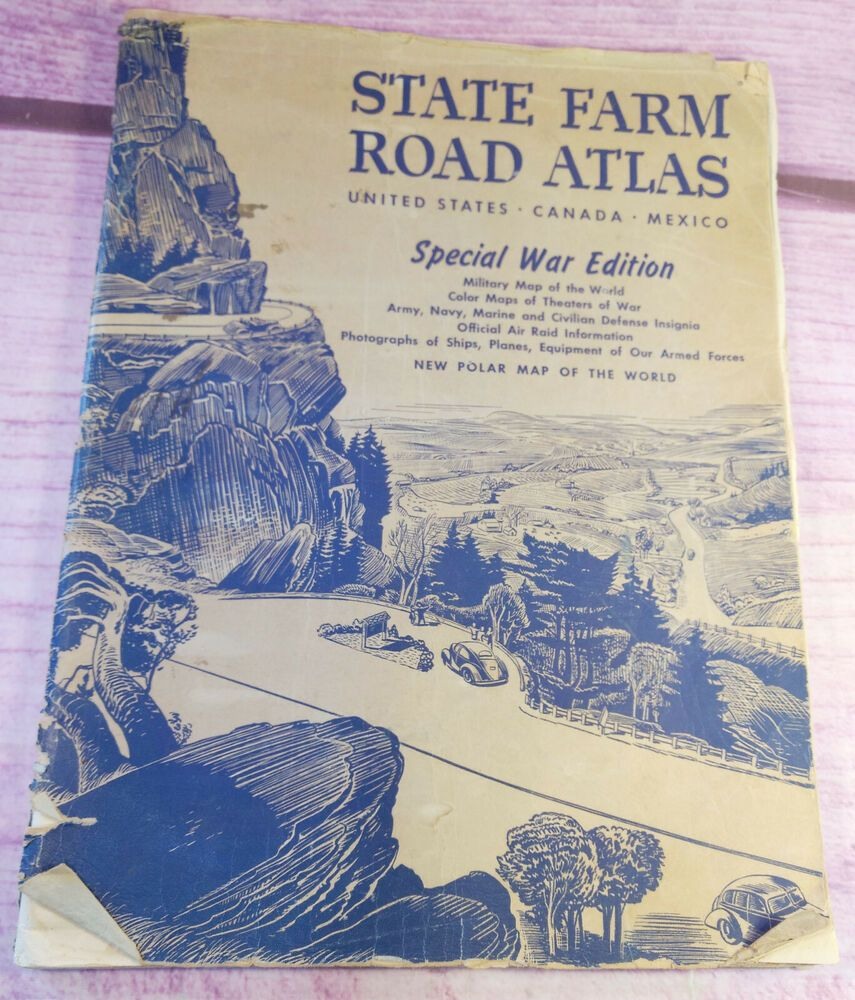 Details About 1943 State Farm Rand Mcnally Usa Road Atlas Vintage