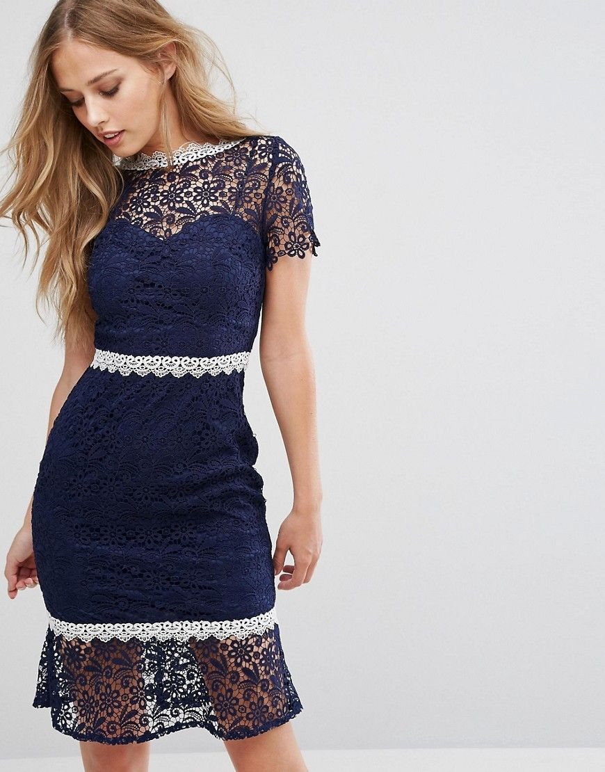 Lace dress navy  Paper Dolls Midi Lace Dress with Contrast Lace Trim  Products