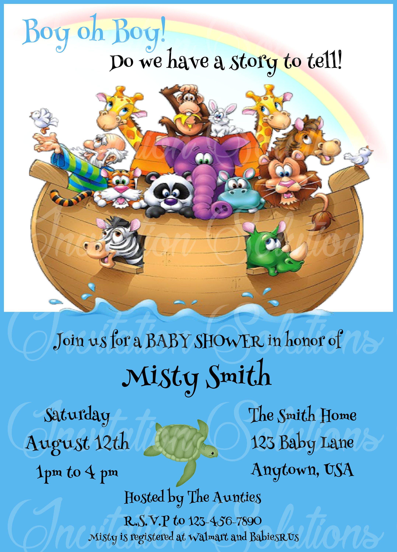 Noah\'s Ark Baby Shower Invitation/ Bible Story Themed Baby Shower ...