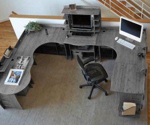 Office Furniture U Shaped Desk With Ikea Design Modern And Swivel