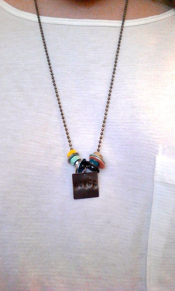 Painted Hardware Necklace by BrownFinches on Etsy, $15.00