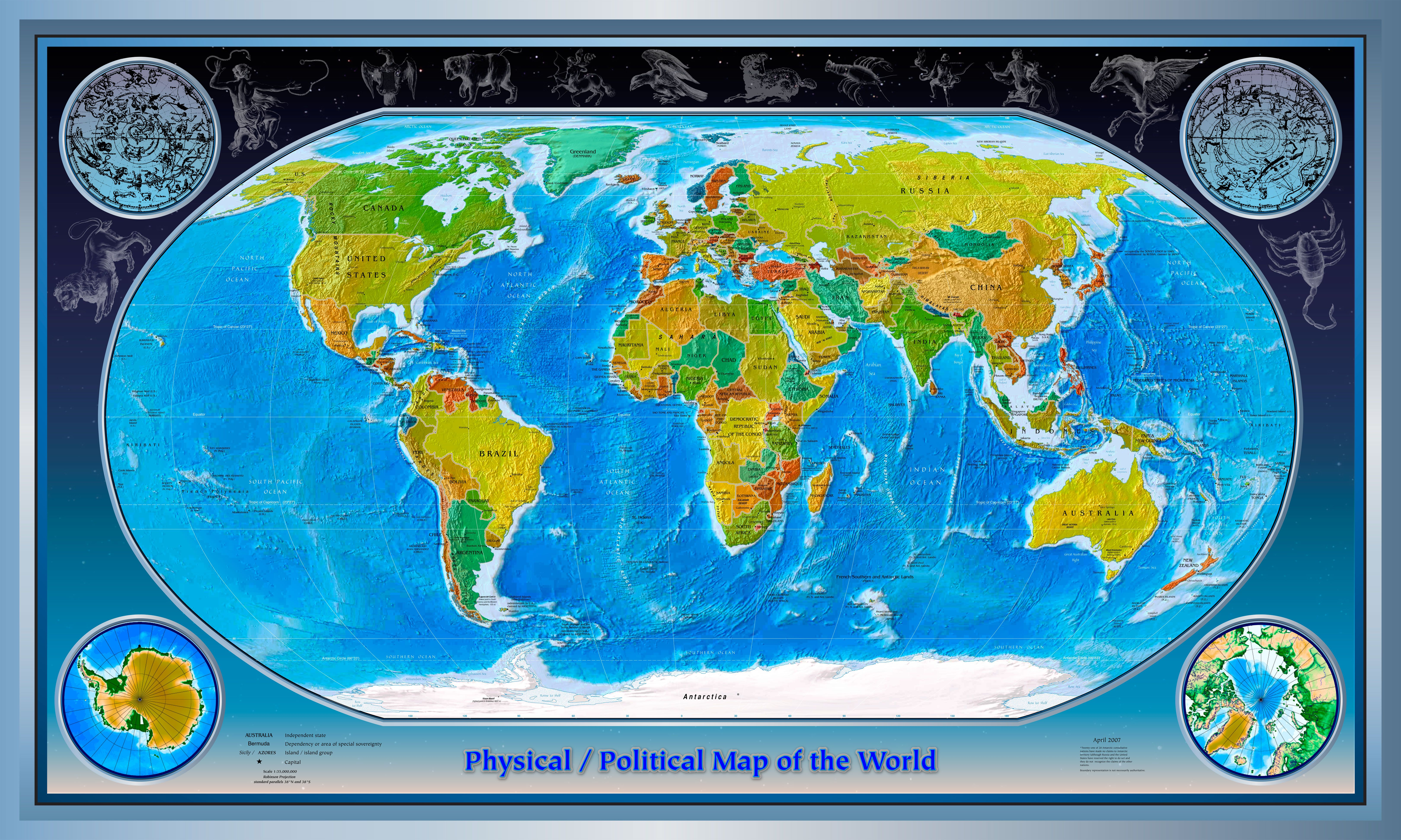 Physical Political World Mapjpg Pixels Large - Earth political map